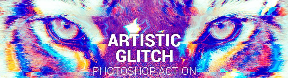 accion profesional de photoshop artistic glitch