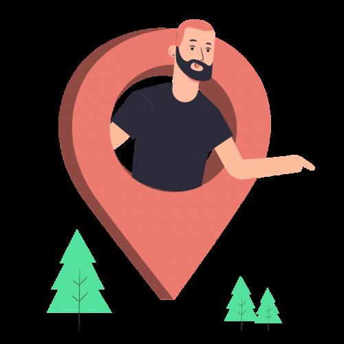 hombre sale de un pin de localizacion señalando con su brazo