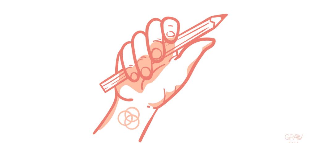 ilustracion mano sujetando lapiz tattoo diseñador grafico